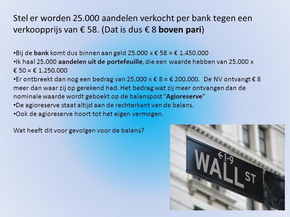 Stel er worden 25.000 aandelen verkocht per bank tegen een verkoopprijs van € 58. (Dat is dus € 8 boven pari)