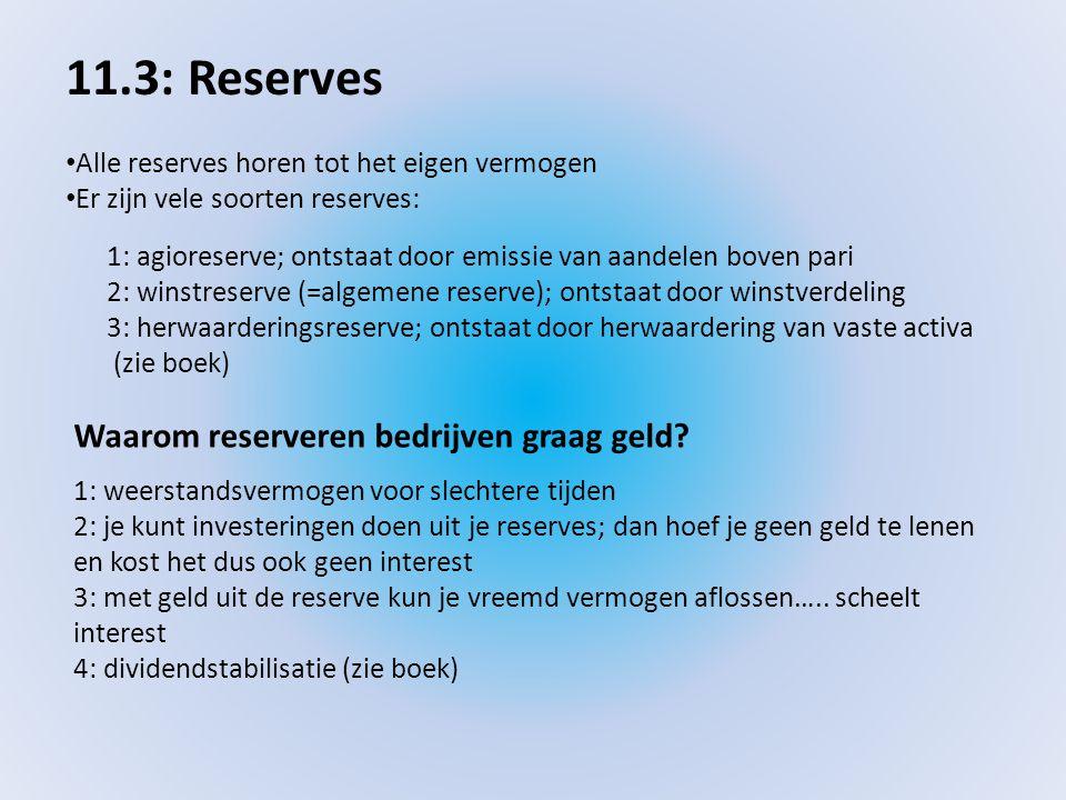 11.3: Reserves Waarom reserveren bedrijven graag geld