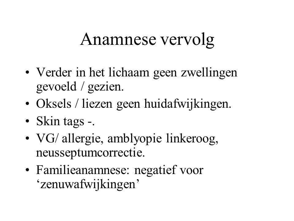 Anamnese vervolg Verder in het lichaam geen zwellingen gevoeld / gezien. Oksels / liezen geen huidafwijkingen.