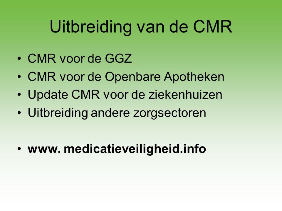 Uitbreiding van de CMR CMR voor de GGZ CMR voor de Openbare Apotheken