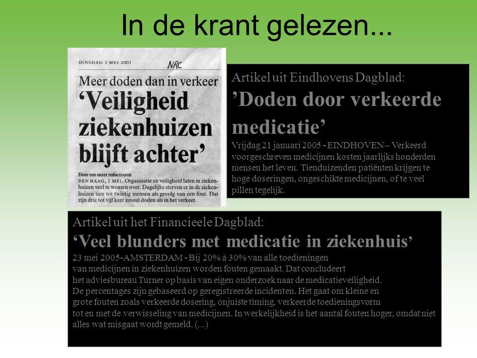 In de krant gelezen... 'Doden door verkeerde medicatie'