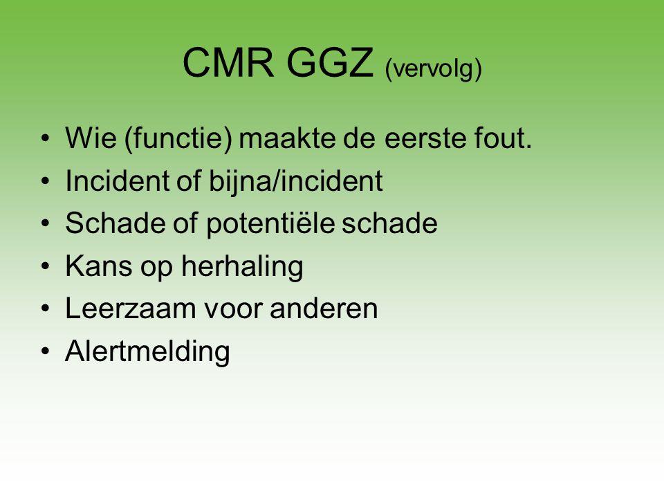 CMR GGZ (vervolg) Wie (functie) maakte de eerste fout.