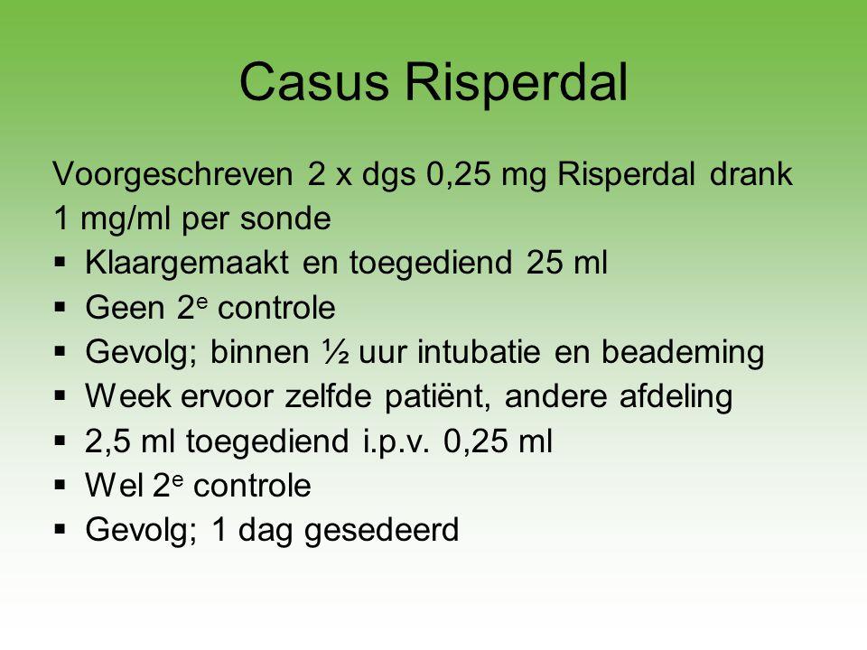 Casus Risperdal Voorgeschreven 2 x dgs 0,25 mg Risperdal drank
