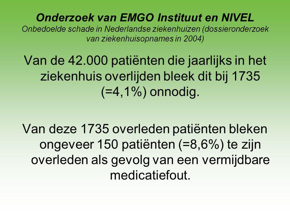 Onderzoek van EMGO Instituut en NIVEL Onbedoelde schade in Nederlandse ziekenhuizen (dossieronderzoek van ziekenhuisopnames in 2004)