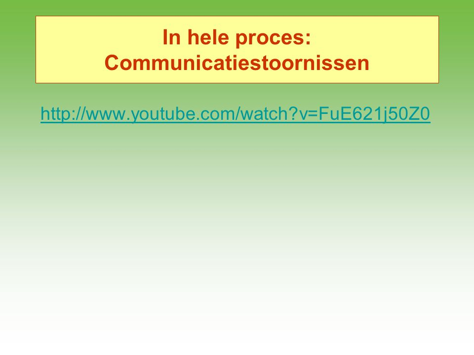 In hele proces: Communicatiestoornissen