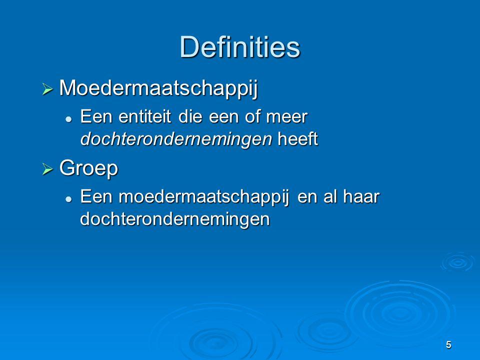 Definities Moedermaatschappij Groep