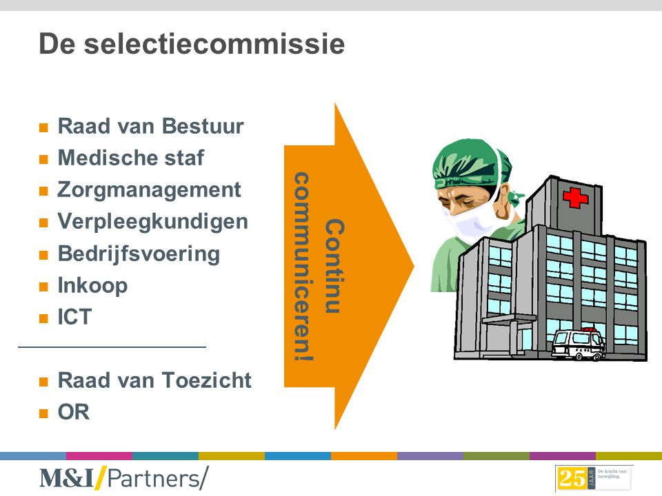 De selectiecommissie communiceren! Continu Raad van Bestuur