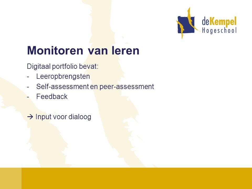 Monitoren van leren Digitaal portfolio bevat: Leeropbrengsten