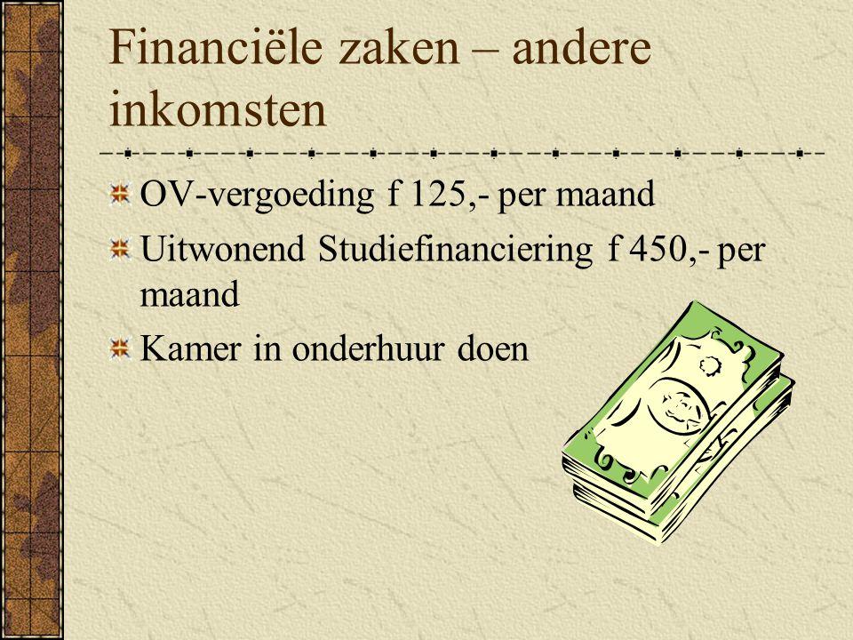 Financiële zaken – andere inkomsten