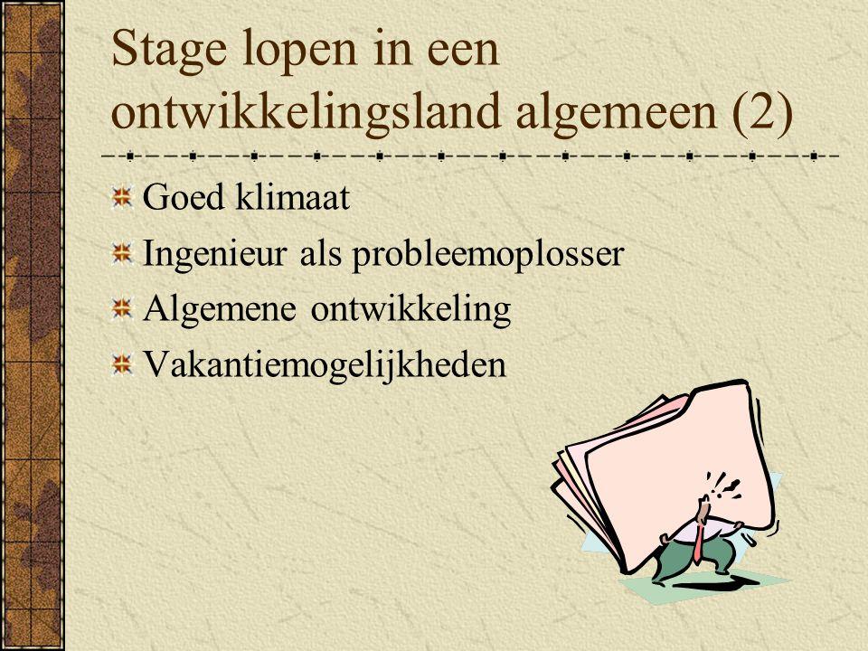 Stage lopen in een ontwikkelingsland algemeen (2)