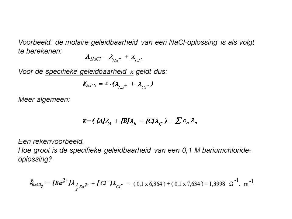 Voorbeeld: de molaire geleidbaarheid van een NaCl-oplossing is als volgt te berekenen: