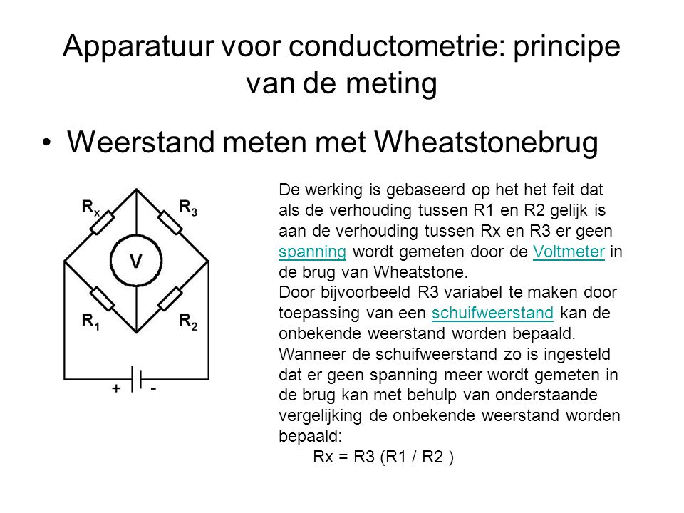 Apparatuur voor conductometrie: principe van de meting