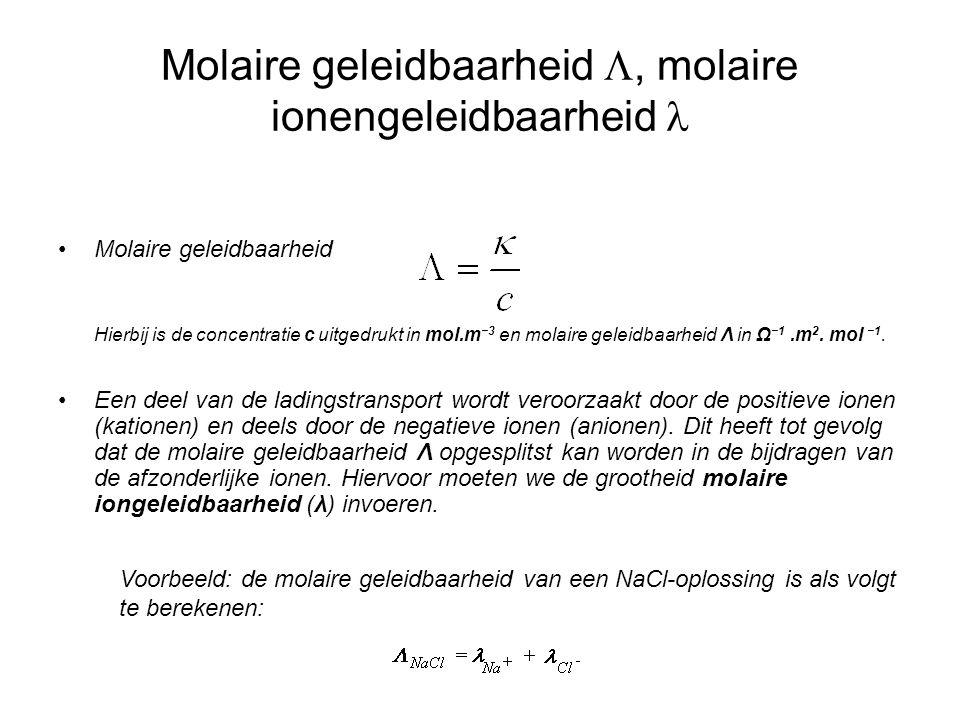 Molaire geleidbaarheid L, molaire ionengeleidbaarheid l