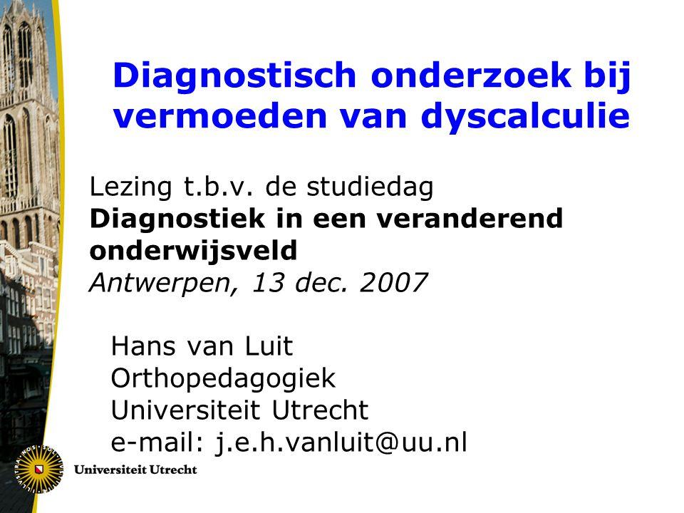 Diagnostisch onderzoek bij vermoeden van dyscalculie