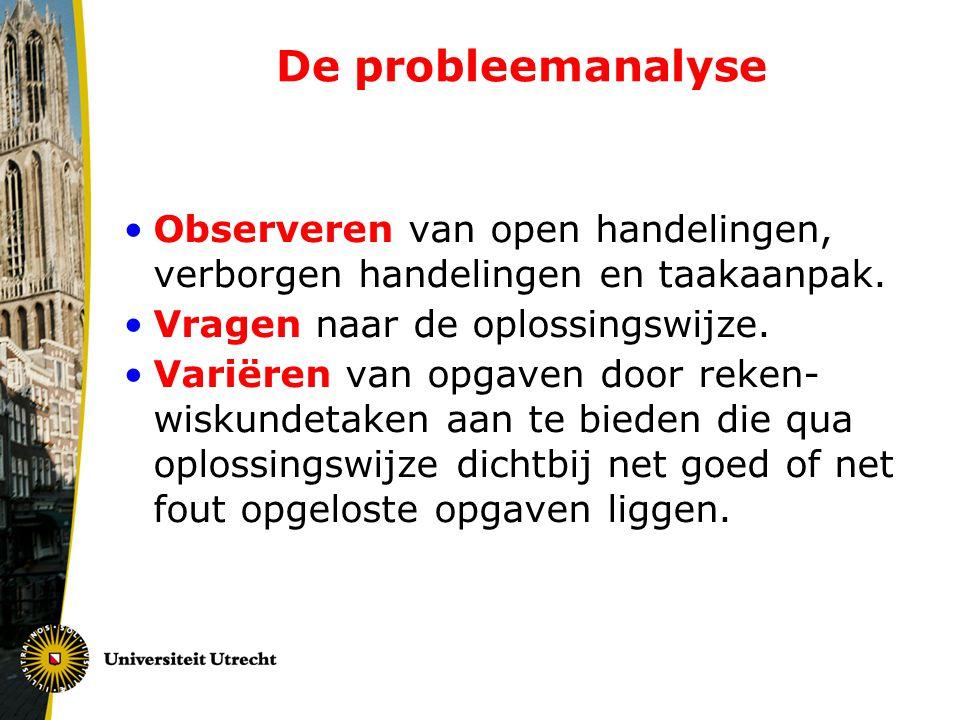 De probleemanalyse Observeren van open handelingen, verborgen handelingen en taakaanpak. Vragen naar de oplossingswijze.
