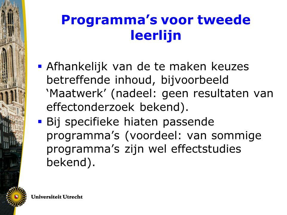 Programma's voor tweede leerlijn