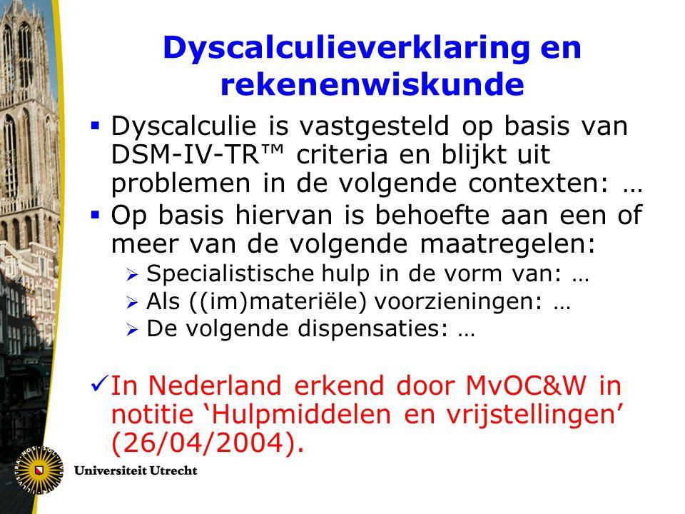 Dyscalculieverklaring en rekenenwiskunde