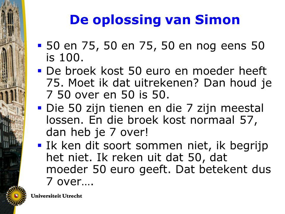 De oplossing van Simon 50 en 75, 50 en 75, 50 en nog eens 50 is 100.