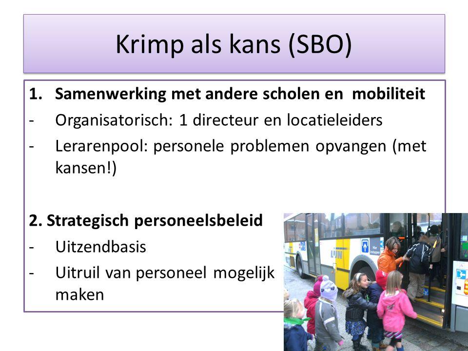 Krimp als kans (SBO) Samenwerking met andere scholen en mobiliteit