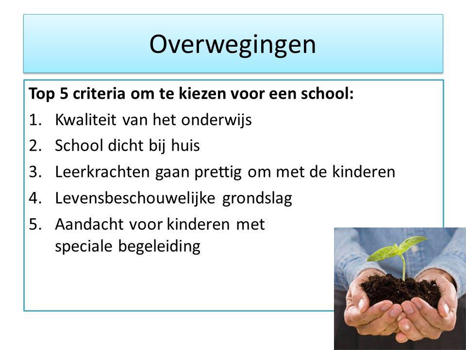 Overwegingen Top 5 criteria om te kiezen voor een school: