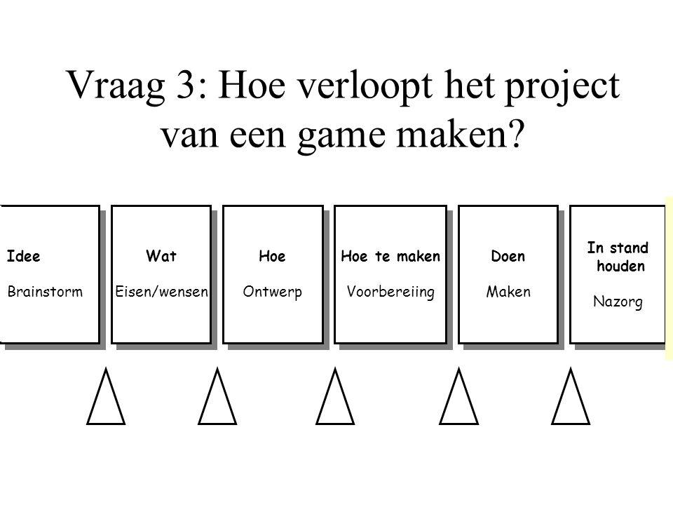 Vraag 3: Hoe verloopt het project van een game maken