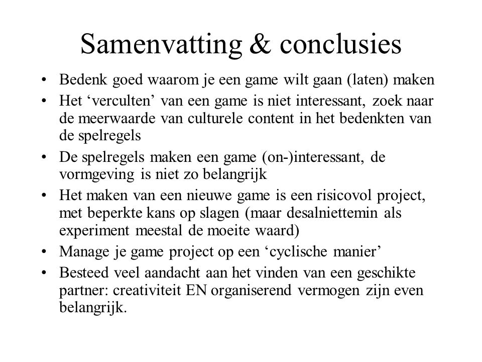 Samenvatting & conclusies