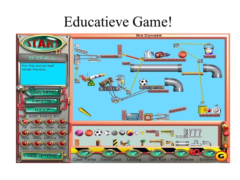 Educatieve Game. Overgenomen uit de presentatie 'Making Tools for Making Games'; van Steven M.