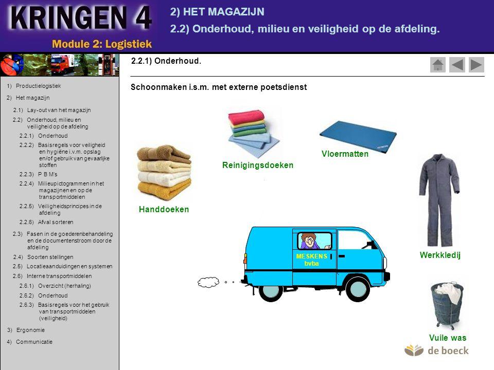 2.2) Onderhoud, milieu en veiligheid op de afdeling.