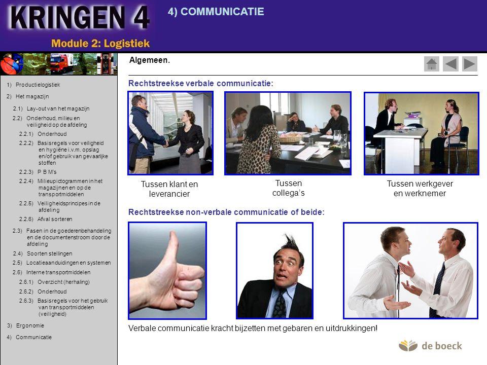 4) COMMUNICATIE Algemeen. Rechtstreekse verbale communicatie: