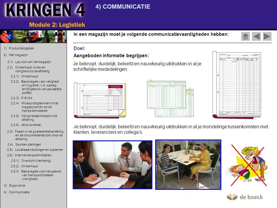4) COMMUNICATIE In een magazijn moet je volgende communicatievaardigheden hebben: 1) Productielogistiek.