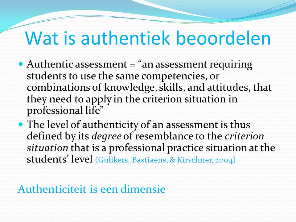 Wat is authentiek beoordelen