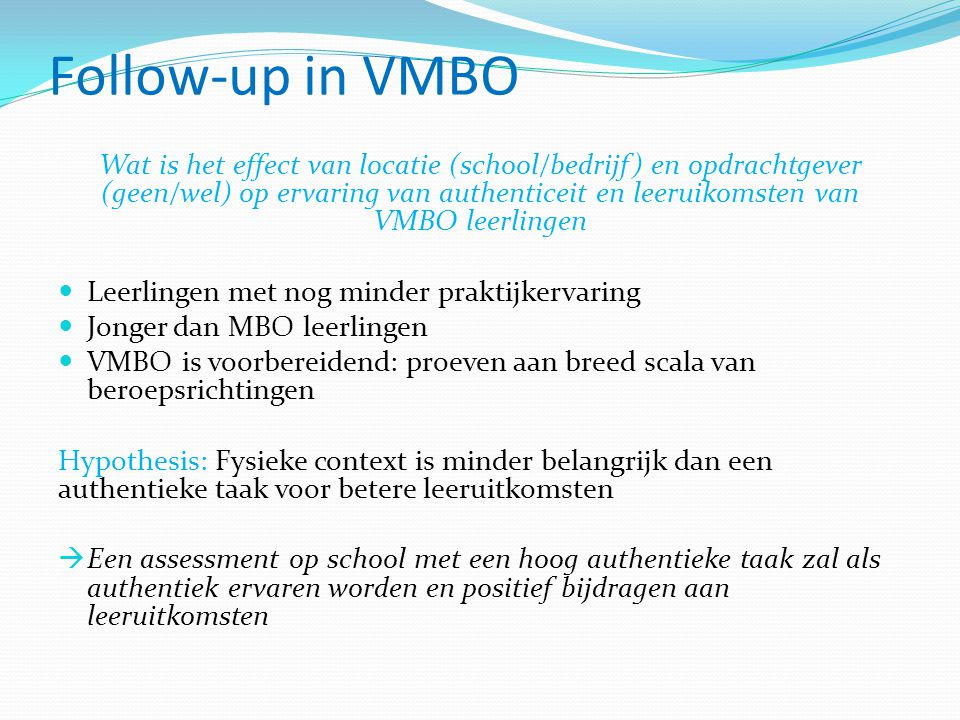 Follow-up in VMBO