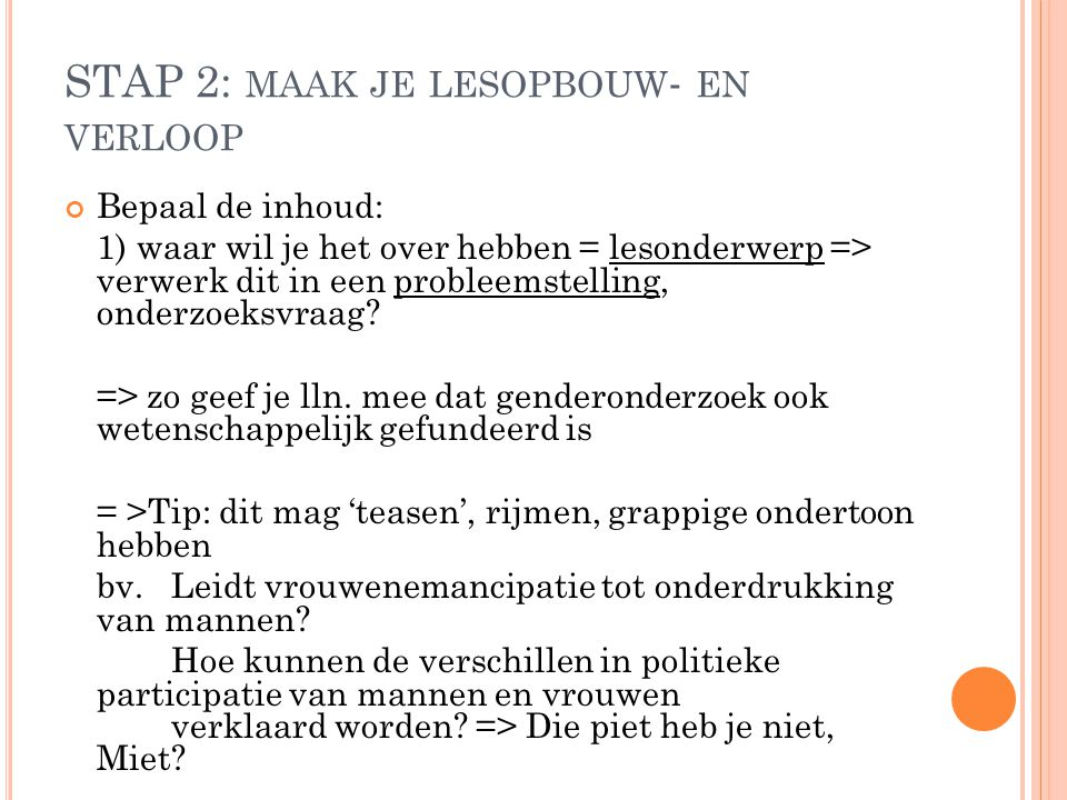 STAP 2: maak je lesopbouw- en verloop