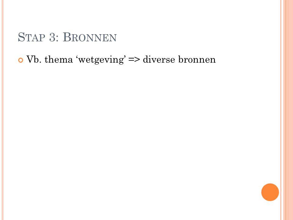 Stap 3: Bronnen Vb. thema 'wetgeving' => diverse bronnen