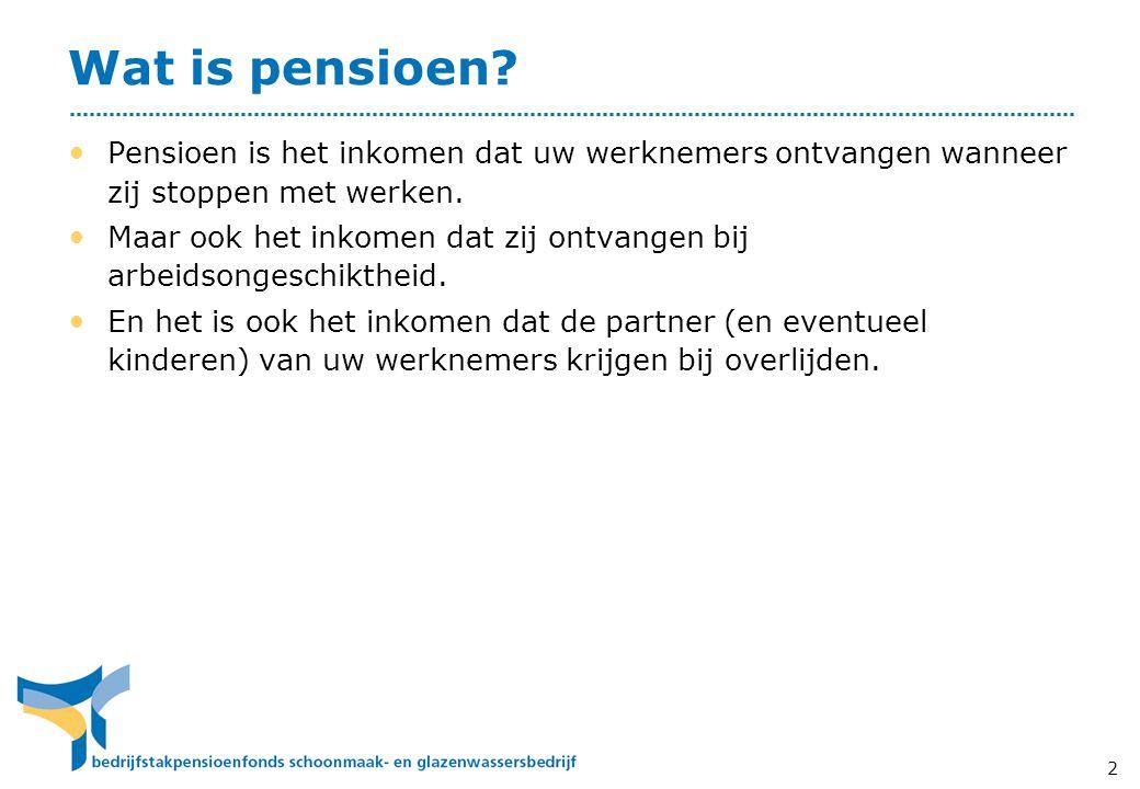 Wat is pensioen Pensioen is het inkomen dat uw werknemers ontvangen wanneer zij stoppen met werken.