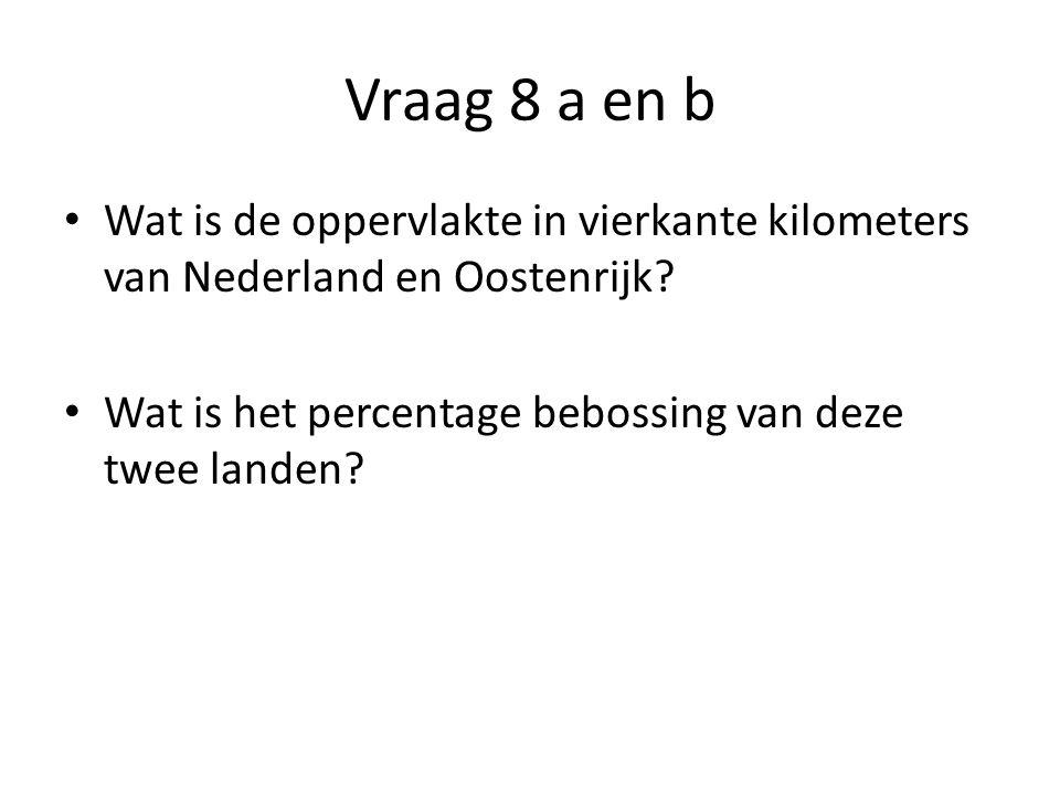 Vraag 8 a en b Wat is de oppervlakte in vierkante kilometers van Nederland en Oostenrijk.