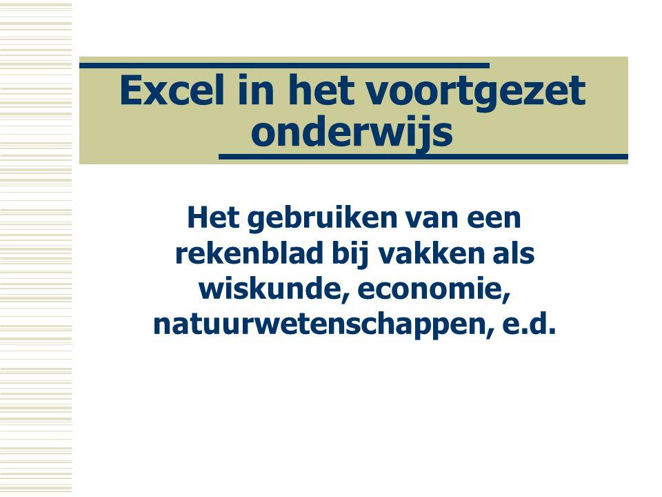 Excel in het voortgezet onderwijs