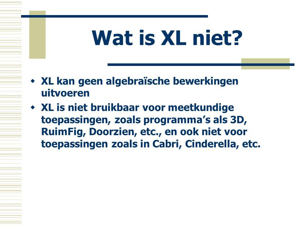 Wat is XL niet XL kan geen algebraïsche bewerkingen uitvoeren