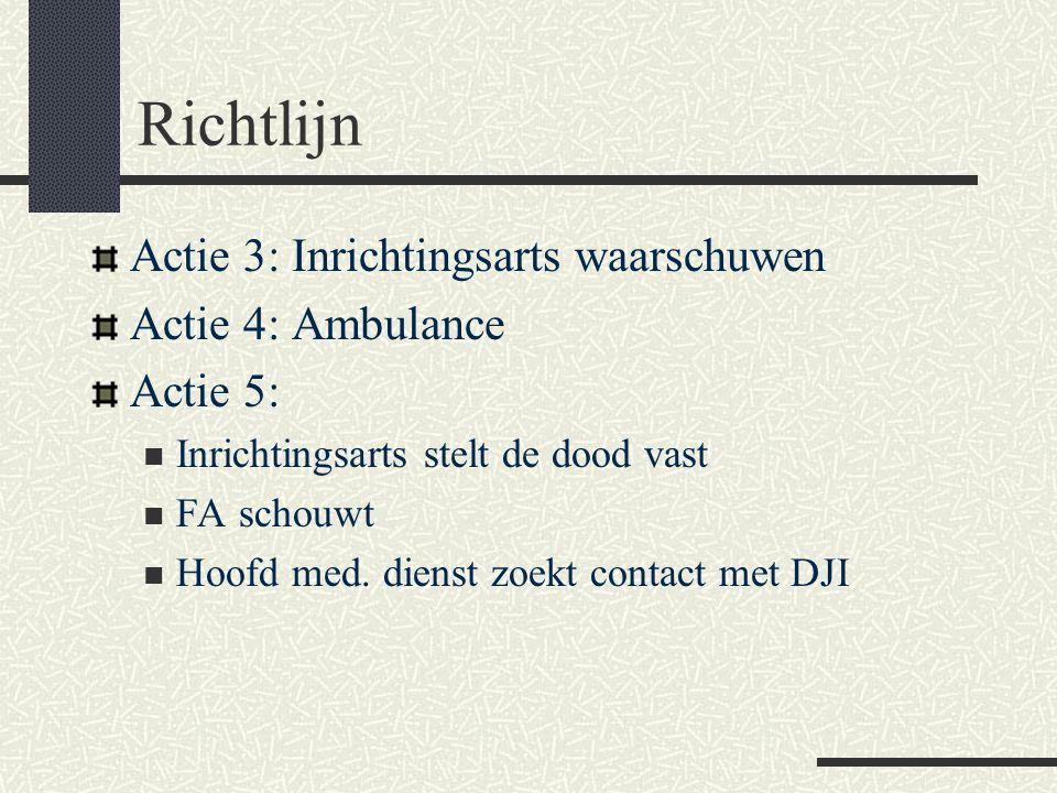 Richtlijn Actie 3: Inrichtingsarts waarschuwen Actie 4: Ambulance