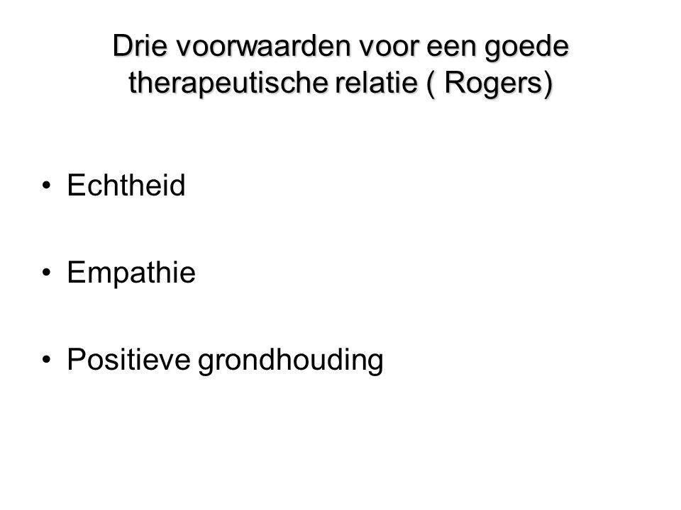 Drie voorwaarden voor een goede therapeutische relatie ( Rogers)