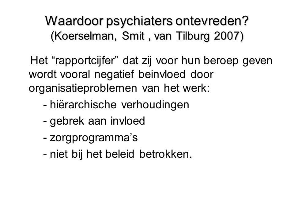Waardoor psychiaters ontevreden (Koerselman, Smit , van Tilburg 2007)