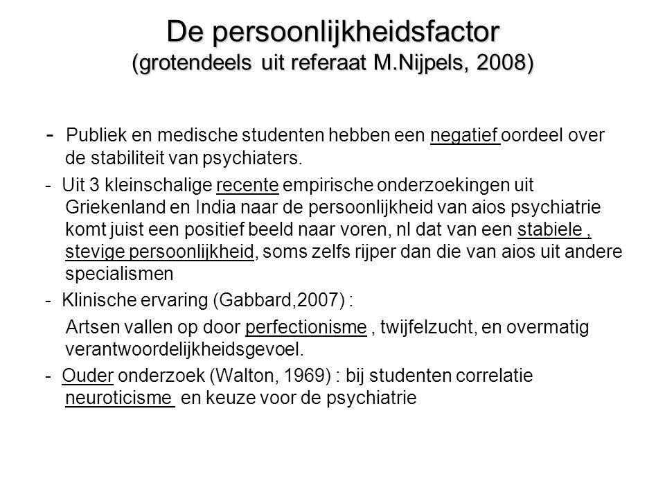 De persoonlijkheidsfactor (grotendeels uit referaat M.Nijpels, 2008)