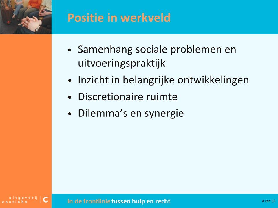 Positie in werkveld Samenhang sociale problemen en uitvoeringspraktijk