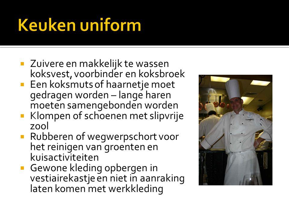 Keuken uniform Zuivere en makkelijk te wassen koksvest, voorbinder en koksbroek.