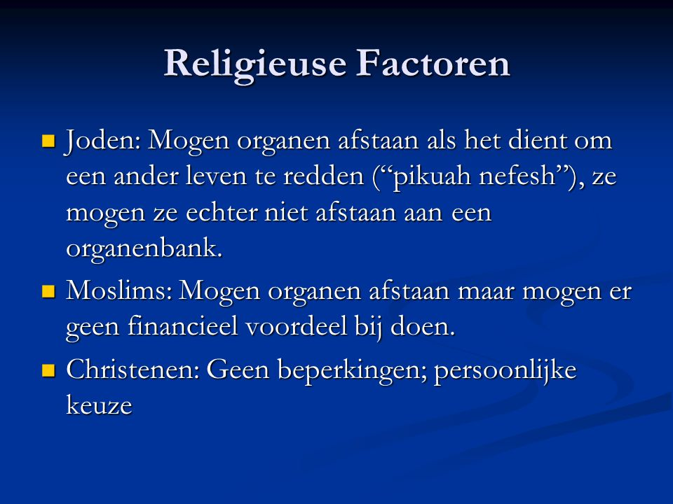 Religieuse Factoren