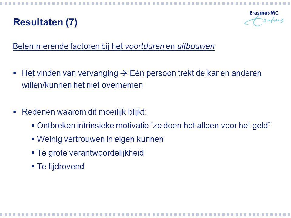 Resultaten (7) Belemmerende factoren bij het voortduren en uitbouwen