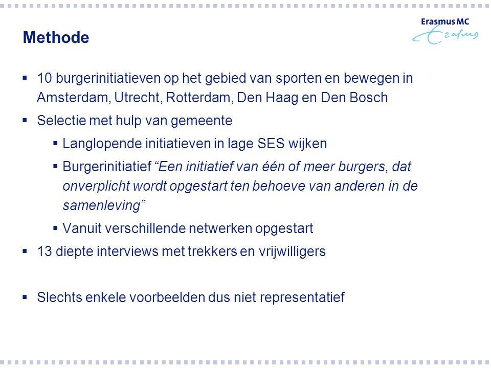 Methode 10 burgerinitiatieven op het gebied van sporten en bewegen in Amsterdam, Utrecht, Rotterdam, Den Haag en Den Bosch.
