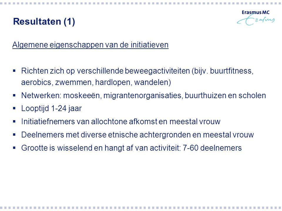Resultaten (1) Algemene eigenschappen van de initiatieven