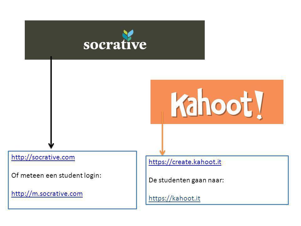 http://socrative.com Of meteen een student login: http://m.socrative.com. https://create.kahoot.it.