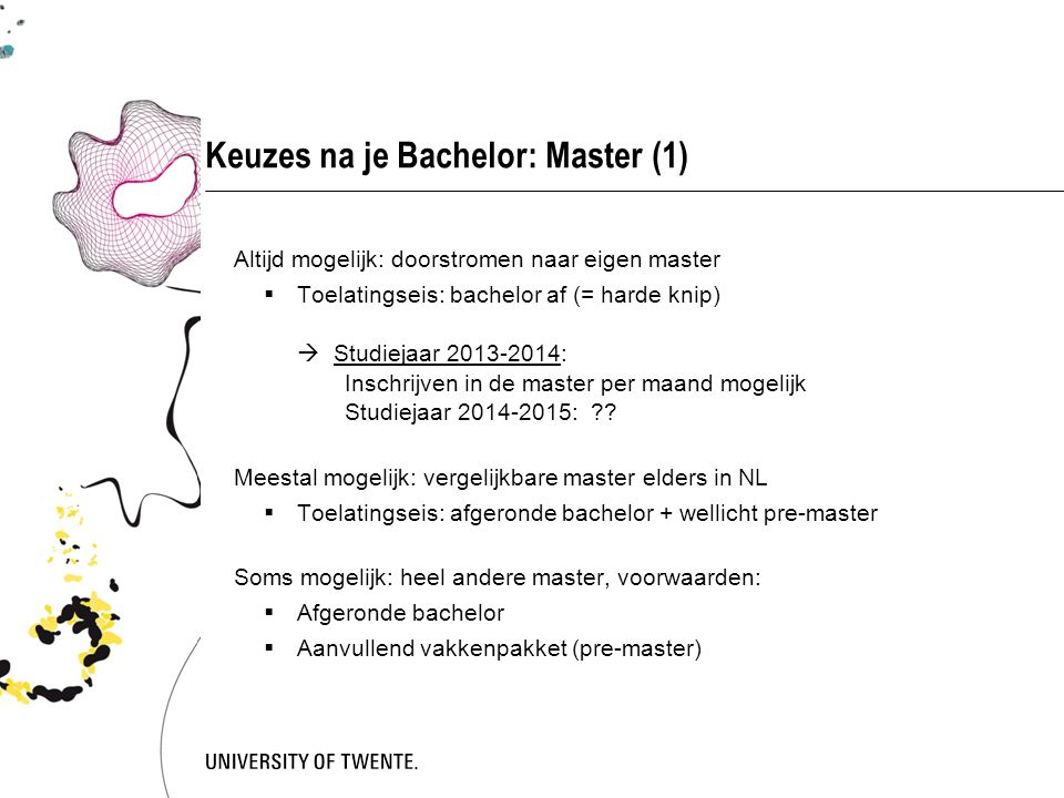 Keuzes na je Bachelor: Master (1)